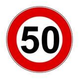 Muestras del límite de velocidad de 50 kilómetros - vector stock de ilustración