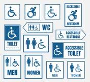 Muestras del lavabo de Accesible, muestra del retrete para la gente desabled libre illustration