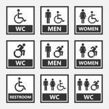 Muestras del lavabo de Accesible, muestra del retrete para la gente desabled stock de ilustración