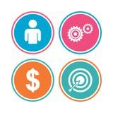 Muestras del negocio Ser humano y targer del objetivo con la flecha libre illustration