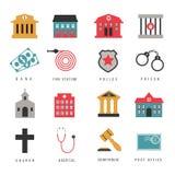 Muestras del pasillo del gobierno municipal e iconos planos de los edificios ilustración del vector