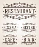 Muestras del restaurante y del café del vintage ilustración del vector