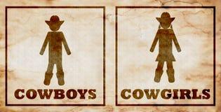Muestras del retrete de los vaqueros y de las vaqueras ilustración del vector