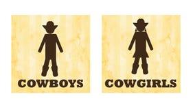 Muestras del retrete del vector de los vaqueros y de las vaqueras libre illustration