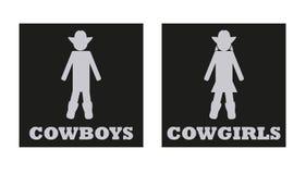 Muestras del retrete del vector de los vaqueros y de las vaqueras stock de ilustración