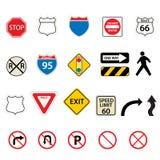 Muestras del tráfico y de camino Foto de archivo libre de regalías