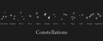 Muestras del zodiaco Constelaciones de las muestras del zodiaco, horóscopo Cúmulo de estrellas Vector ilustración del vector