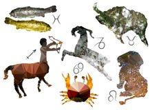 Muestras del zodiaco de polígonos stock de ilustración