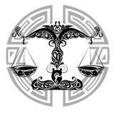 Muestras del zodiaco - diseño de Libra.Tattoo libre illustration