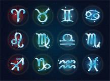 Muestras del zodiaco en un contexto del espacio Foto de archivo libre de regalías
