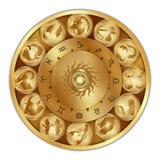 Muestras del zodiaco en un disco del oro Foto de archivo libre de regalías