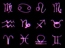 Muestras del zodiaco en un negro Imagen de archivo