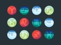 Muestras del zodiaco Iconos del horóscopo Fotografía de archivo libre de regalías