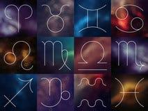 Muestras del zodiaco Línea fina blanca símbolos astrológicos en fondo colorido borroso Foto de archivo libre de regalías