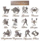 Muestras del zodiaco - (metálico) Imagen de archivo