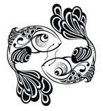 Muestras del zodiaco - Piscis. Diseño del tatuaje Foto de archivo libre de regalías