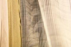 Muestras delicadas de la tela de la cortina Fotografía de archivo libre de regalías