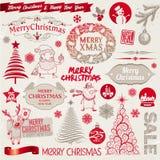 Muestras, emblemas y elementos de la Navidad Fotos de archivo libres de regalías