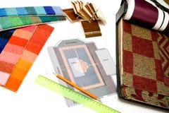 Muestras en estudio del diseño en blanco imagen de archivo