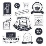 Muestras en línea de las compras fijadas ilustración del vector
