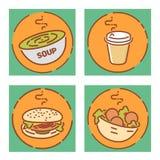 Muestras fijadas, diseño plano de los alimentos de preparación rápida Iconos de la sopa, del café, de la hamburguesa y del falafe Fotografía de archivo
