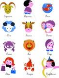 Muestras/iconos del zodiaco Fotos de archivo libres de regalías