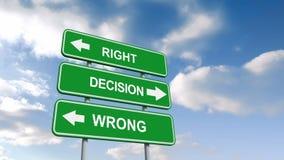 Muestras incorrectas correctas de las decisiones contra el cielo azul libre illustration
