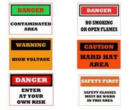 Muestras industriales de la precaución Imagenes de archivo