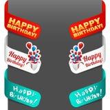 Muestras laterales izquierdas y derechas - feliz cumpleaños Imagen de archivo libre de regalías