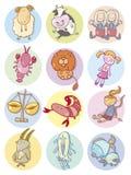 Muestras lindas del zodiaco stock de ilustración