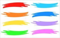 Muestras multicoloras de la pintura de la tira del cepillo Fotos de archivo libres de regalías