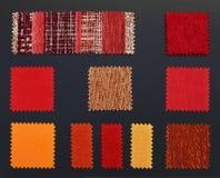 Muestras multicoloras de la tela de los muebles fotos de archivo