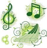 Muestras musicales con los elementos florales Imagenes de archivo