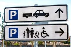 Muestras para aparcamiento Foto de archivo libre de regalías