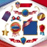 Muestras patrióticas, escrituras de la etiqueta, etiquetas y emblema de los E.E.U.U. Foto de archivo libre de regalías