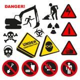 Muestras peligrosas amonestadoras de la etiqueta Imagen de archivo