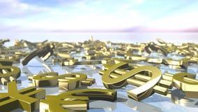 Muestras principales brillantes animadas del dinero que caen abajo 3D que rinde 4k stock de ilustración