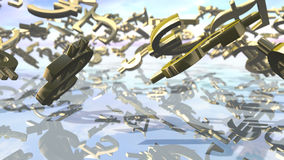 Muestras principales brillantes del dinero que caen abajo representación 3d libre illustration