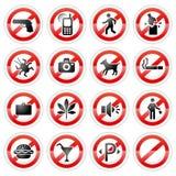 Muestras prohibidas fijadas Imagen de archivo libre de regalías