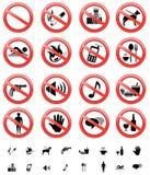 Muestras prohibidas fijadas Imágenes de archivo libres de regalías