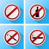 Muestras que prohíben malos hábitos Imagenes de archivo
