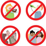 Muestras que prohíben comportamiento incorrecto Fotografía de archivo