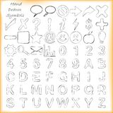 Muestras, símbolos y alfabetos dibujados mano ilustración del vector