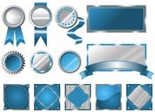 Muestras, sellos y escrituras de la etiqueta azules metálicos Foto de archivo libre de regalías