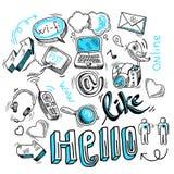 Muestras sociales del garabato medias ilustración del vector