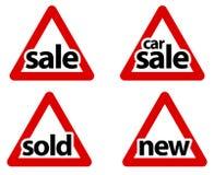 Muestras triangulares de la venta del camino Imagen de archivo