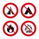 Muestras turísticas de la tienda de campaña Iconos de la llama del fuego stock de ilustración