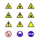 Muestras y avisos de seguridad Foto de archivo libre de regalías