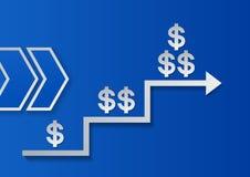 Muestras y flechas de dólar en fondo azul Progreso del éxito Imagenes de archivo