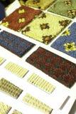 Muestras y muestras de la textura de la alfombra Imágenes de archivo libres de regalías